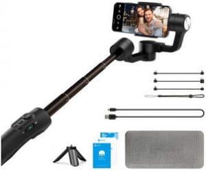 Feiyu Vimble 2S portátil estabilizador de cardan de 3 eixos, haste de extensão de 18 cm para smartphone iOS e Android