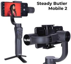 Rollei Steady Butler Mobile 2 Smartphone Gimbal I Timelapse, Rastreamento de Objeto, Função Retrato e Zoom