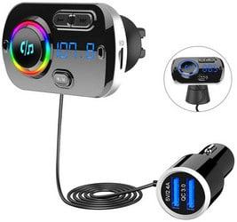 SONRU Transmetteur FM Bluetooth 5.0, Adaptateur Radio FM Émetteur Kit Main Libre QC3.0 USB