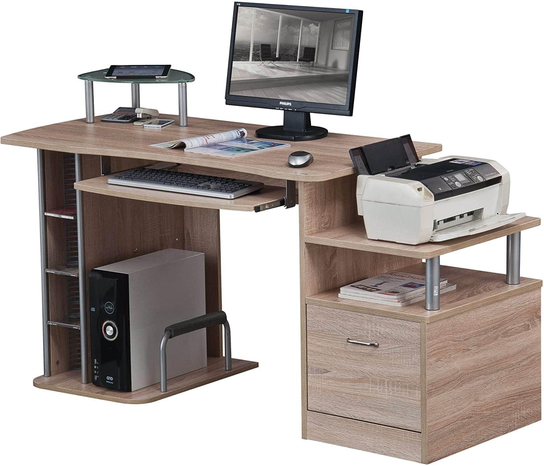 Mesa para computador SixBros.  Aparência madeira de carvalho
