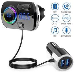 Transmetteur FM Bluetooth 5.0 Adaptateur Radio sans Fil Kit de Voiture Mains Libres