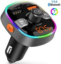 Transmetteur FM Bluetooth 5.0 Lecteur MP3 Adaptateur Radio sans Fil Kit de Voiture Mains Libres