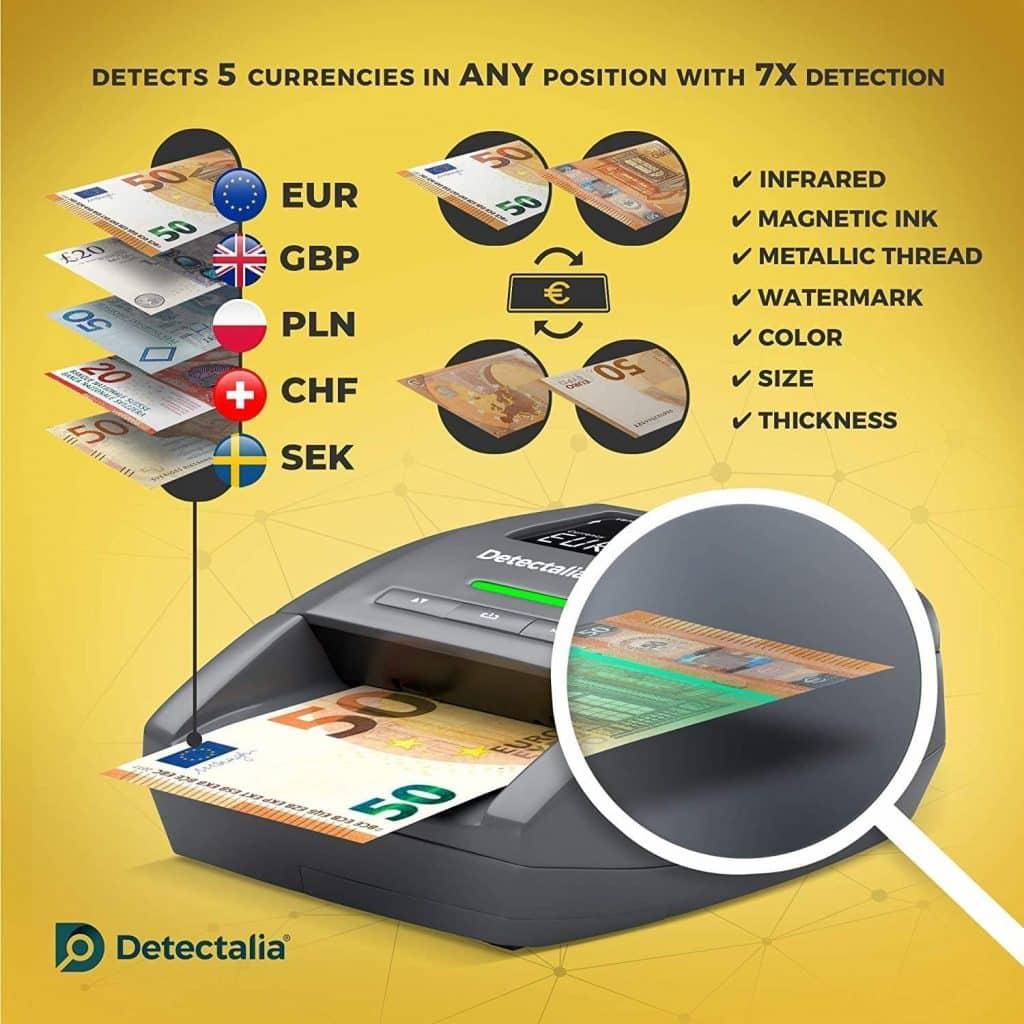 Detectalia D7X - Détecteur automatique de faux billets avec 100% détection et prêt pour les nouveaux billets