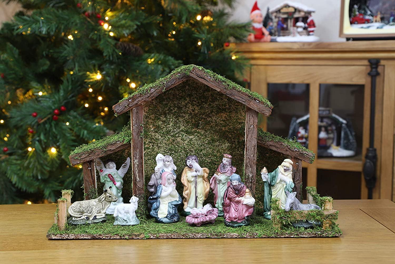 crèche de Noël traditionnelle en bois Toyland